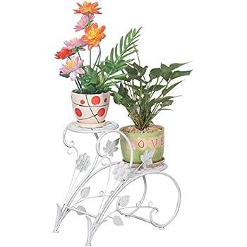 Tag re pots de fleurs porte plantes avec 2 soucoupes en m tal fer forge pour d coration maison for Porte plante fer forge blanc