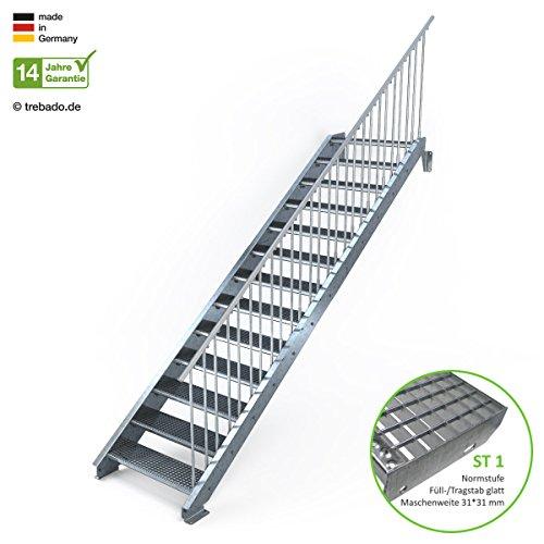 Außentreppe 13 Stufen 90 cm Laufbreite – einseitiges Geländer rechts - Anstellhöhe variabel von 216 cm bis 260 cm - Gitterroststufe ST1 - feuerverzinkte Stahltreppe mit 900 mm Stufenlänge als montagefertiger Bausatz