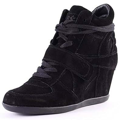 Ash Bowie Hi-Top Womens Suede Wedge Trainers Black Black - 41 EU