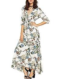 Women s Long Bohemian Retro Floral Print Front Slit Split Short Sleeve V  Neck Vintage Summer Cotton 6689e760bdf3
