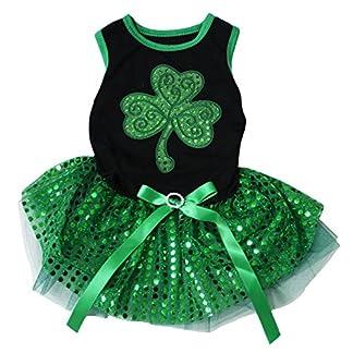 Petitebelle Sequins Clover Leaf Black Shirt Green Sequins Tutu Puppy Dog Dress Petitebelle Sequins Clover Leaf Black Shirt Green Sequins Tutu Puppy Dog Dress 51BiNgYJWLL