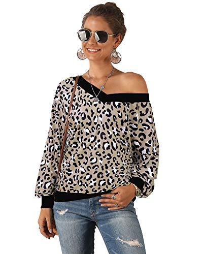 GIKING Blusa Informal básica de Manga Larga con Cuello Redondo y Estampado de Leopardo para Mujer Leopardo Albaricoque M