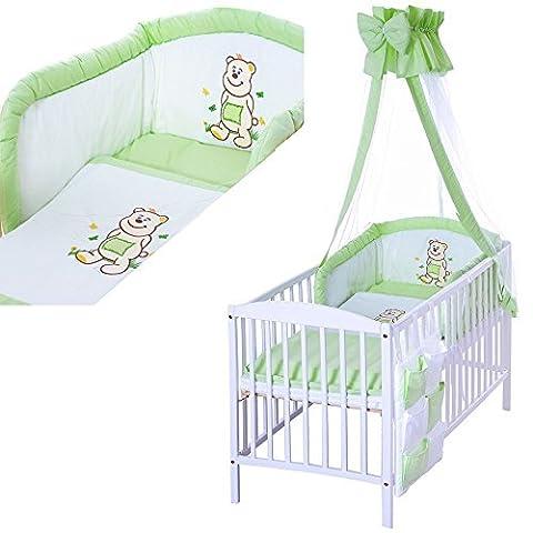 LCP Kids 1314 Literie de bébé ensemble XXL 9 pièces linge set avec brodées motifs - 100% coton motif: Our vert