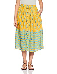 Global Desi Women's A-Line Midi Skirt - B07D43D3VG
