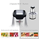 from LINKChef Mini Chopper 600W LINKChef Mini Food Processor 4 bi-level blades, 1.2L Robust Stainless Steel Bowl with 500ml Food Capacity Silver / Black (FC-5140)  3 Years Warranty