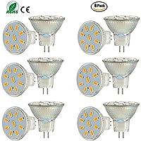 Ei-Home - 6lampadine a LED bianco caldo 5733-9SMD MR11 attaccoGU4, CA/CC 10-30V, 2 W, per la casa, il camper, l'illuminazione di esposizioni (non dimmerabile)