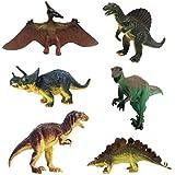 JZK 6 Conjunto Surtido Dinosaurio de Juguete Figuras Triceratops pterodáctilo estegosaurio Allosaurus tirano-saurio Rex