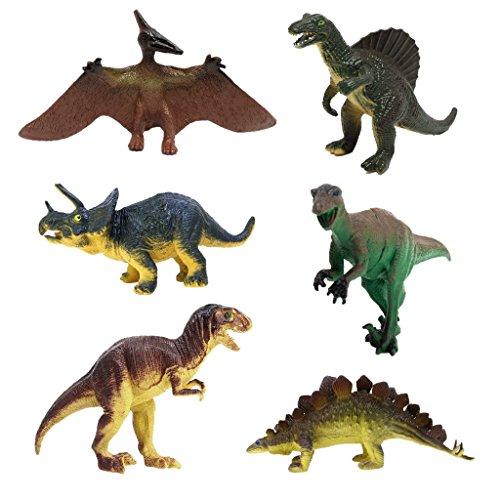 Favors Geburtstag 5. Party (JZK Satz von 6 assorted Dinosaurier Figuren, Triceratops Pterodaktyl Stegosaurus Allosaurus Tyrannosaurus Rex, Dinos Spielzeug Mitgebsel Geschenk für Geburtstag Kinder Party)