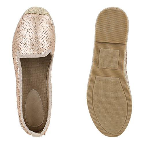 Freizeit Damen Gold Strass Espadrilles Flats Slipper Schuhe Amares Bast Rose qrCrxt8nw
