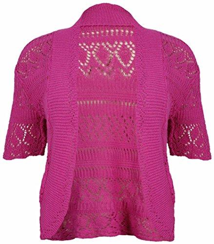 Womens New Crochet Front Open Damen Kurzarm Gestrickte Bolero Cropped Cardigan Shrug Top Plus Größe von Star Trendz (EUR 44 (UK 16), Cerise) (Cardigan Cropped Front)