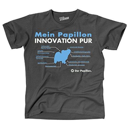 Siviwonder Unisex T-Shirt INNOVATION PAPILLON TEILE LISTE Hunde lustig fun Dark Grey