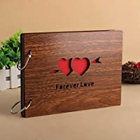 Superwinger 22*16 CM Scrapbook Diy Photo Album Black Pages Wood Scrapbook (forever love)