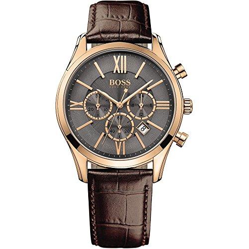Boss-Herren-Armbanduhr-Chronograph-Quarz-Leder-1513198