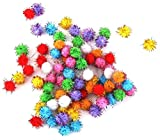RUNakan Colorful Glitter Tinsel Pompom Balls Dog Cat Puppy Toys 100pcs/21pcs (3.5cm&21pcs)
