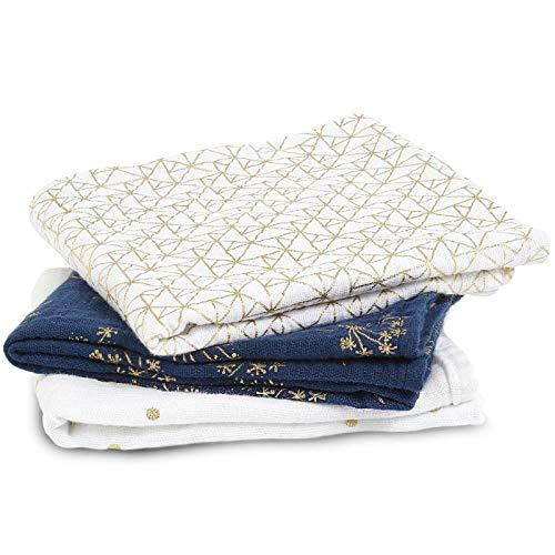 aden + anais langes musy, 100% mousseline de coton, 70cm x 70cm, pack de 3, metallic gold deco
