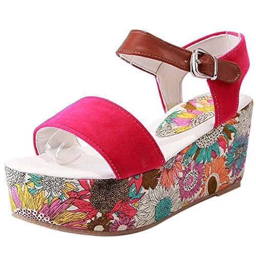 TAOFFEN Femme Mode Sangle De Cheville Sandales Bout Ouvert Talons Compenses Chaussures 1466rouge