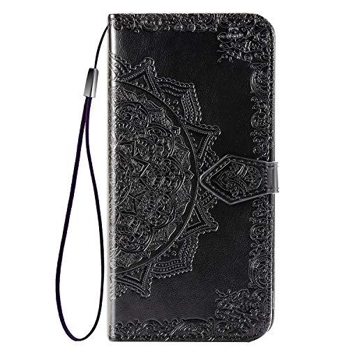 Abuenora Funda para Xiaomi Redmi 6, Carcasa Libro con Tapa Flip Case Antigolpes Golpes Cartera PU Cuero Suave Soporte con Correa Cordel - Mandala Negro