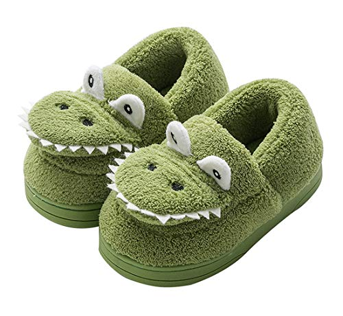 Kids Cartoon Animal Plush House Shoes Warm Dinosaur House Slippers for Boys Girls Indoor Cozy Anti-Slip Cotton Slippers