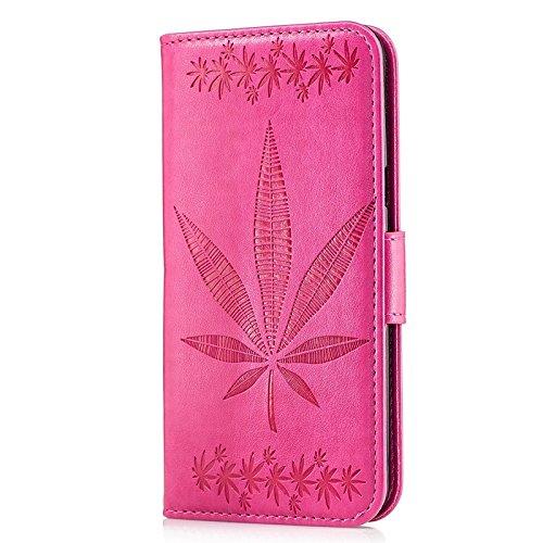 YHUISEN Galaxy S8 Plus Case, geprägtes Ahornblatt Design PU Leder Flip Wallet Stand Case mit Card Slot für Samsung Galaxy S8 Plus ( Color : Gold ) Rose