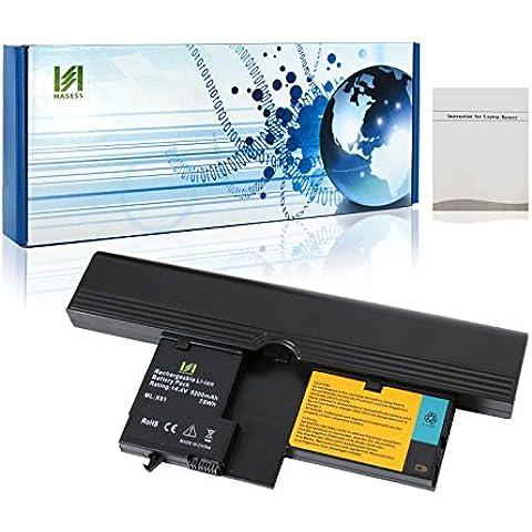 HASESS Alta Capacidad 5200mAh 75Wh 14.4V Li-ion Reemplazo Laptop Batería del Ordenador Portátil Notebook para Lenovo IBM ThinkPad X60 X61 Tablet 6363 7762 7764 7767 Compatible con 40Y8314 40Y8318 ASM 42T5209 FRU 42T5204 FRU 42T5206 - 12 Meses de Garantía