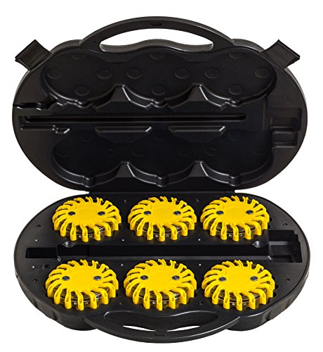 UvV-Shop LED 6 Warnleuchten gelbes Kofferset Unfall, Notfall, Leuchten POWER-LED Escape-Light Koffer gelb Akku LED 12V/220V