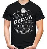 Mein leben Berlin Männer und Herren T-Shirt | Fussball Ultras Geschenk (L, Schwarz)