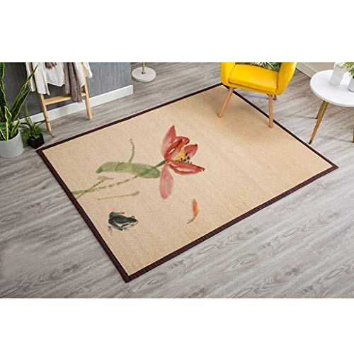 HBJP Bambus gewebt Yoga Matte kreative Bambus Teppich Mode Wohnzimmer Hause bodenmatte Rutschfeste gepolsterte einfache Schlafzimmer Matte Teppich (Farbe : C, größe : 130CM×180CM)
