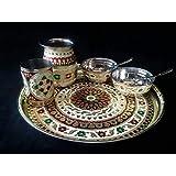 Om Sai Handicraft Dinnerware Set Of Stainless Steel Meenakari Worked 2 Bowls 2 Spoon 2 Glass & 1 Tray Dinner Thali Tableware Dinning Ware
