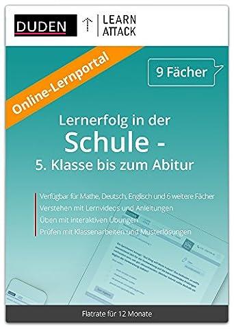 Duden Learnattack – Lernerfolg in Mathe, Deutsch, Englisch und 6 weiteren Fächern - 5. Klasse bis zum Abitur (12 Monate Flatrate)