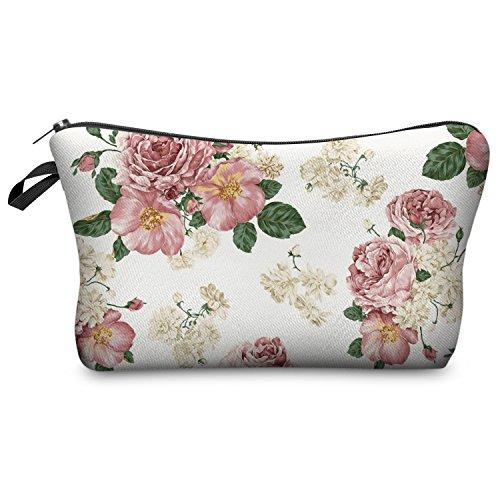 Kosmetiktasche Federmappe Mäppchen Tüte Beutel Zipper Kulturbeutel Make Up Bag Reißverschluss Full Print All Over Kosmetiktüte (Powder Pink Roses) (Blumen-print-handtasche)