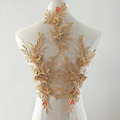 Strumpfband Mit Besatz - bridallaceuk 3D-Spitzenapplikation mit Blumenapplikation, Bestickt, ideal