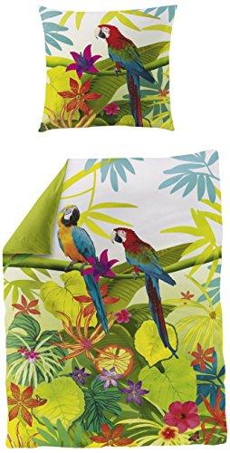 Bierbaum - Juego de cama (satén mako, 2 piezas, 135x200cm), diseño de papagayos