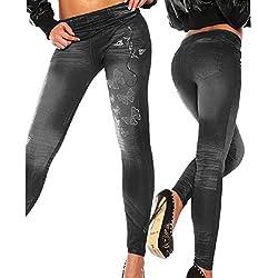 Mallas para mujer de vaquero sintético, ajustados, leggings, jeggings, elásticos, de HugeStore negro negro
