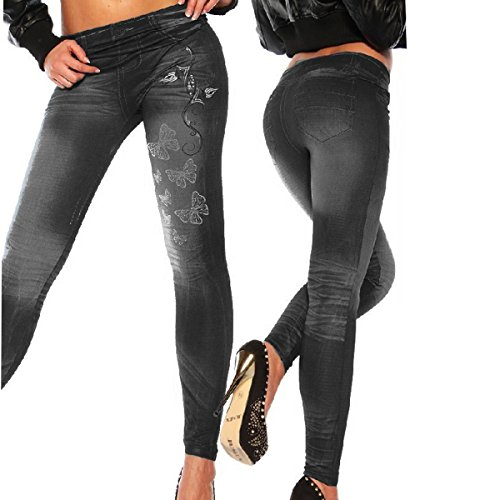 HugeStore Damen Frauen Schmetterling Faux Denim Jeans Leggings Jeggings Treggings Bleistifthose Röhrenjeans Schwarz Schwarz