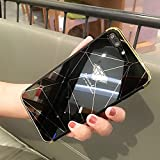 Shinyzone für iPhone 8 Plus/iPhone 7 Plus Spiegel Hülle,Schwarz Diamant Muster Luxus Galvanisieren Technologie Überzug Stoßstange Rahmen Acryl Spiegel Hülle Zurück Schutzhülle