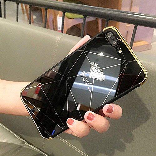 Shinyzone Spiegel Hülle für iPhone 8 Plus/iPhone 7 Plus,Schwarz Diamant Muster Luxus Galvanisieren Technologie Überzug Stoßstange Rahmen Acryl Spiegel Hülle Zurück Schutzhülle (Plus-bildschirm Zu Schützen Iphone)