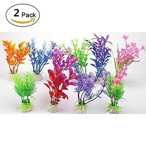 GOOTRADES 2 Pack Mode Nette Kleine Blume Flora Gras, Fisch Tank Aquarium Simulation Wasserpflanzen Ornament Dekoration, aus Plastik und Keramik, 1 Pack mit 10 Stk