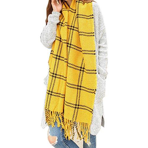 Kissing U Femmes Blanket Grand Echarpe Tartan Wrap Châle Plaid Vérifié Pashmina plaid jaune