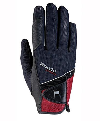 Roeckl Sports Handschuh Madrid, Unisex Reithandschuh, Schwarz/Rot, Größe 7,5