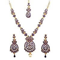 Touchstone Indian Bollywood Floral Inspired Faux Blue Sapphire Rhinestones Designer Bridal Jewelry Necklace Set For Women in Antique Gold Tone.