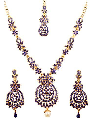 Touchstone set di collana di gioielli da sposa firmati bolines indiani ispirati a fiori di zaffiro blu di ispirazione floreale per donna blu