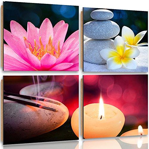 Feeby Frames, Cuadro de pared - 4 partes - Cuadro decorativo, Cuadro impreso, Deco Panel, 120x120cm, FLORES, ZEN, PIEDRAS, VELAS, ROSADO