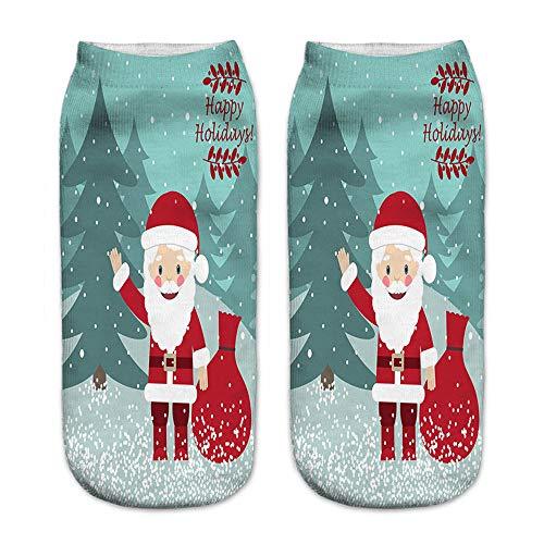 Zolimx Weihnachtssocken 3D gedruckt Weihnachten Frauen Casual Socken niedlich Unisex Low Cut Söckchen 4 Paar
