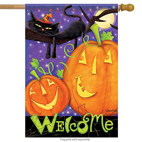 ASKYE Moonlight Welcome Halloween House Flag 2 Sided Black Cat Moon for Party Outdoor Home Decor(Size: 12.5inch W X 18 inch H) (Black Rabbit Halloween)