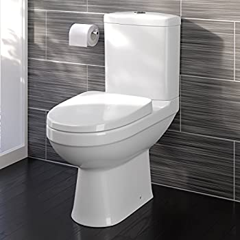 Modern White Close Coupled Toilet With Cistern Soft Close Seat Bathroom WC