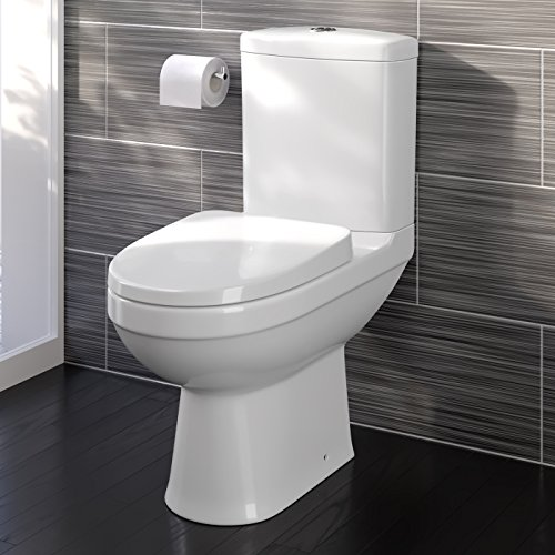 Modern White Close Coupled Toilet With Cistern Soft Close
