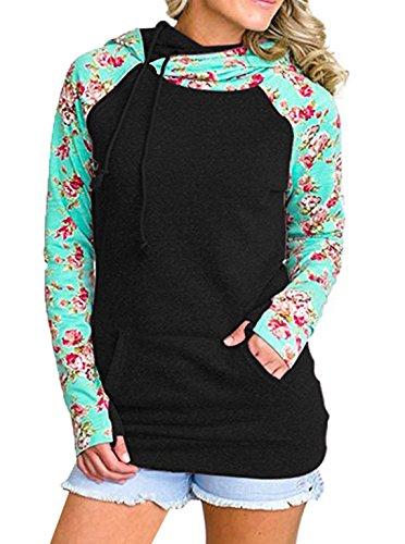 Donna Top Pullover Sweatshirt Jumper top Giacche Autunno Maglie a Manica Lunga Felpe Con Cappuccio Stampa Fiore Hoodie Nero
