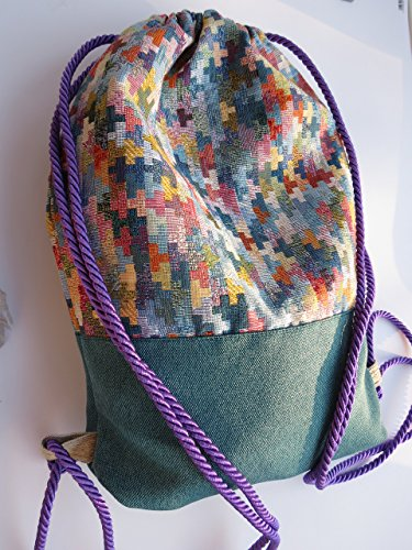 Turnbeutel / Reisesack / Soft-Rucksack aus Canvas mit mehrfarbigem Designer-Muster (\'\'Tetris-Parkette\'\'); Innentasche mit Reißverschluss