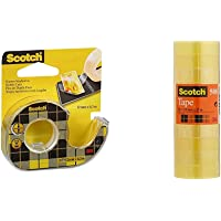 Scotch 3M Nastro Biadesivo Con Dispenser In Chiocciola, 12 Mm X 6.3 M & Nastro Adesivo 3M, Trasparente Acrilico, 15 Mm X…
