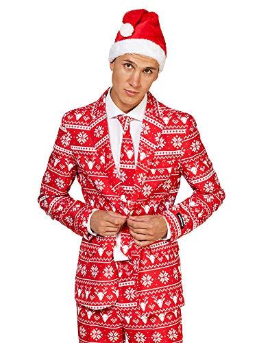 Suitmeister Weihnachtsanzüge für Herren in Verschiedenen Drucken - besteht aus Sakko, Hose und Krawatte + Weihnachtsmütze Gratis